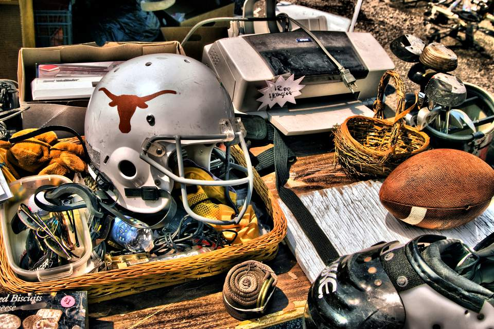 Texas Longhorns football helmet for sale at flea market