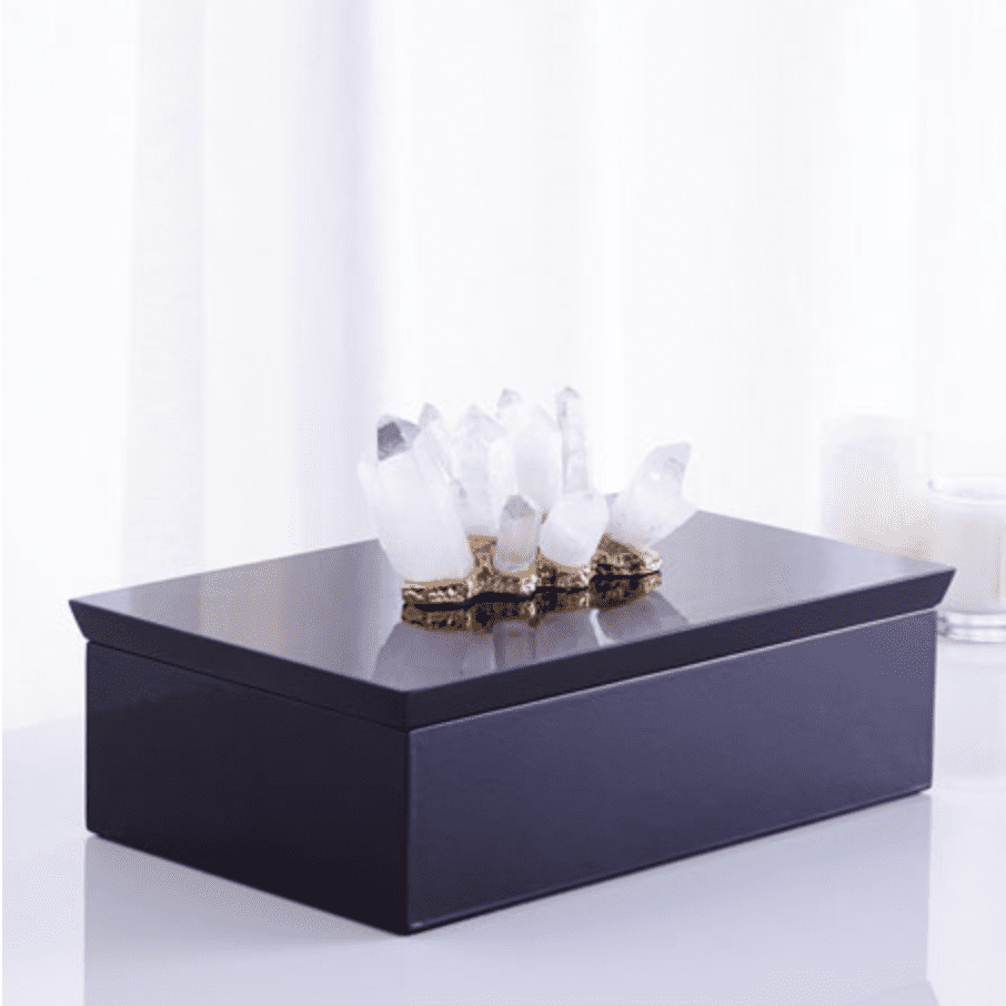 Crystals atop a jewelry box