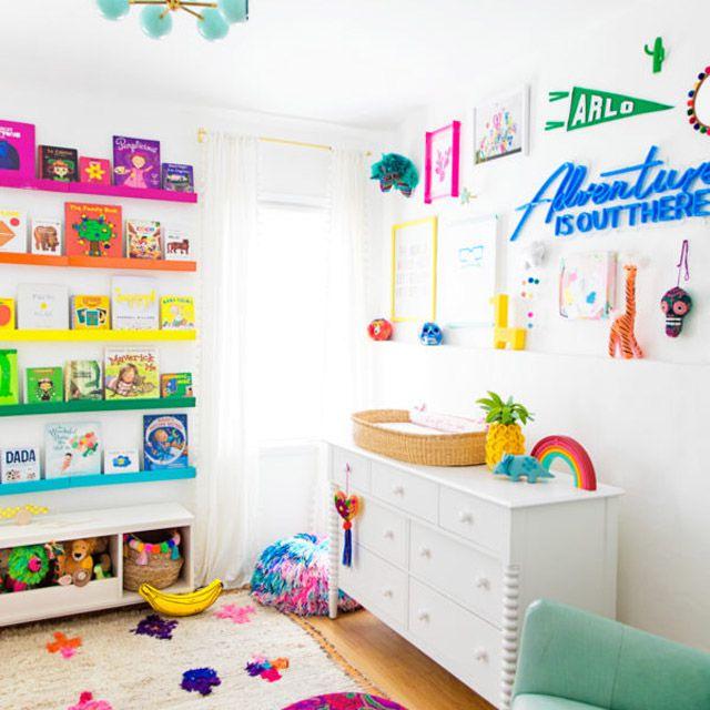 Modern, rainbow-themed nursery