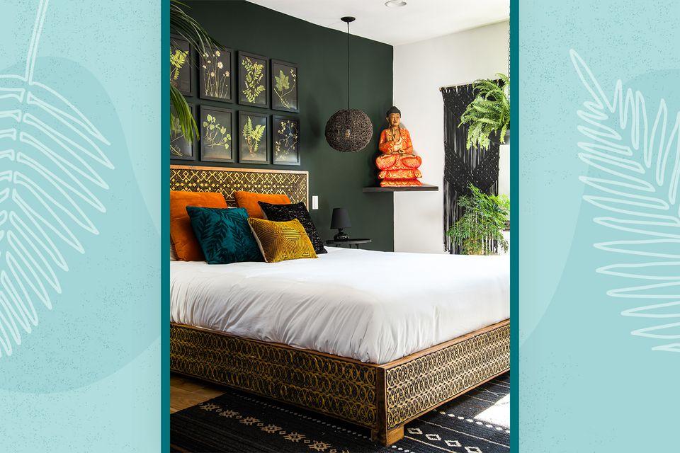 Bedroom in the Los Angles home of interior designer Angelique Velez