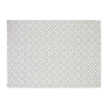 Grey And White Quatrefoil Nursery Rug