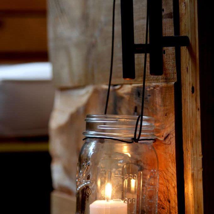 A hanging mason jar lantern