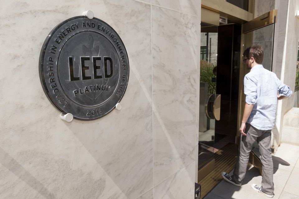 A LEED certification on the side of a building