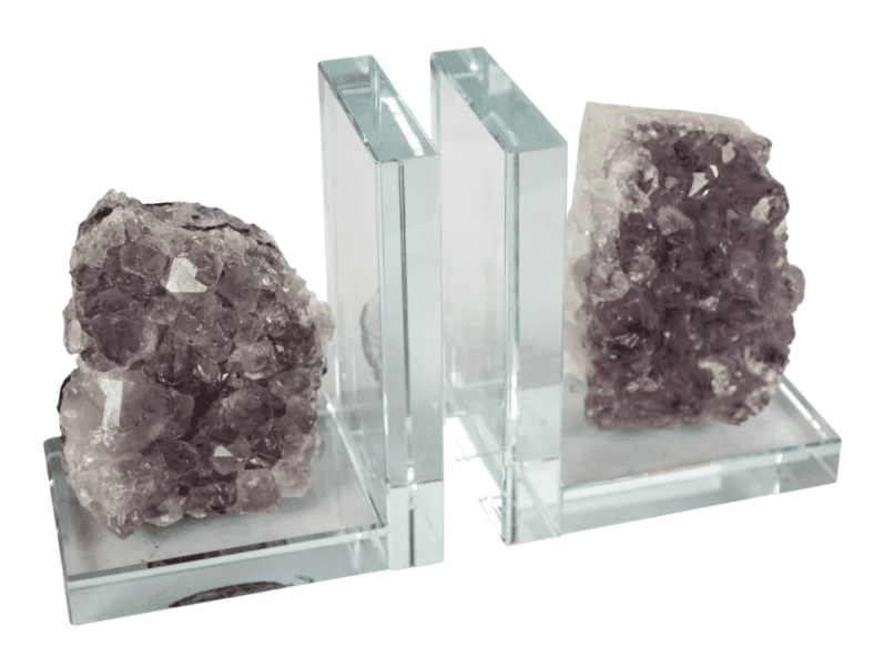 Glass and Amethyst Bookends