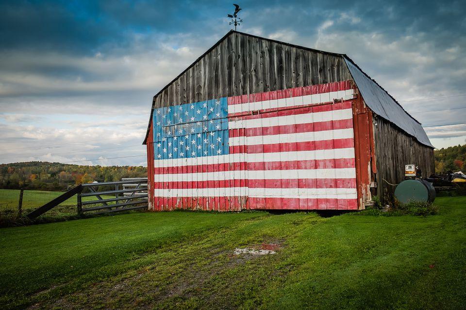 American flag on a barn.