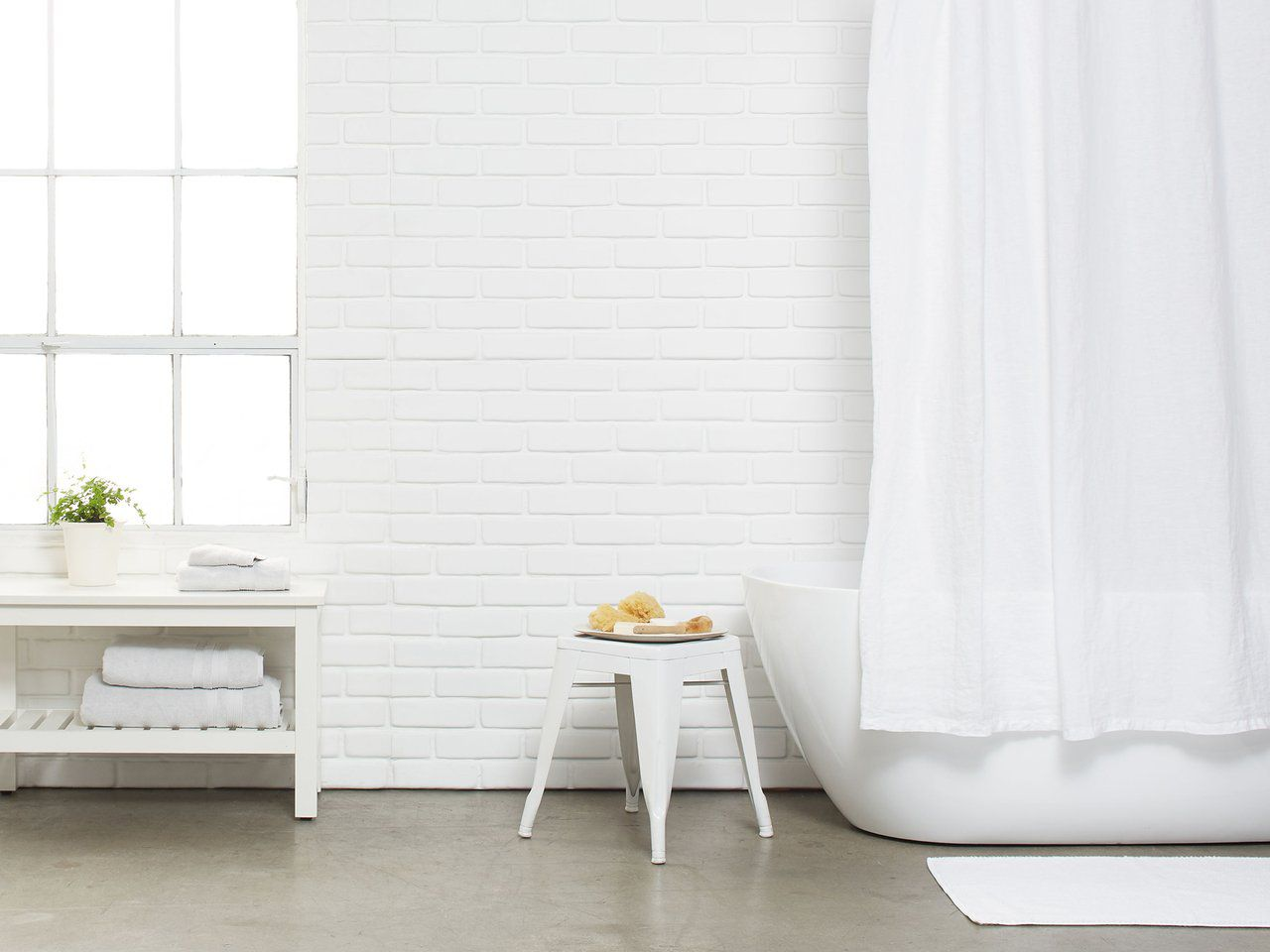Classic White Linen Shower Curtain