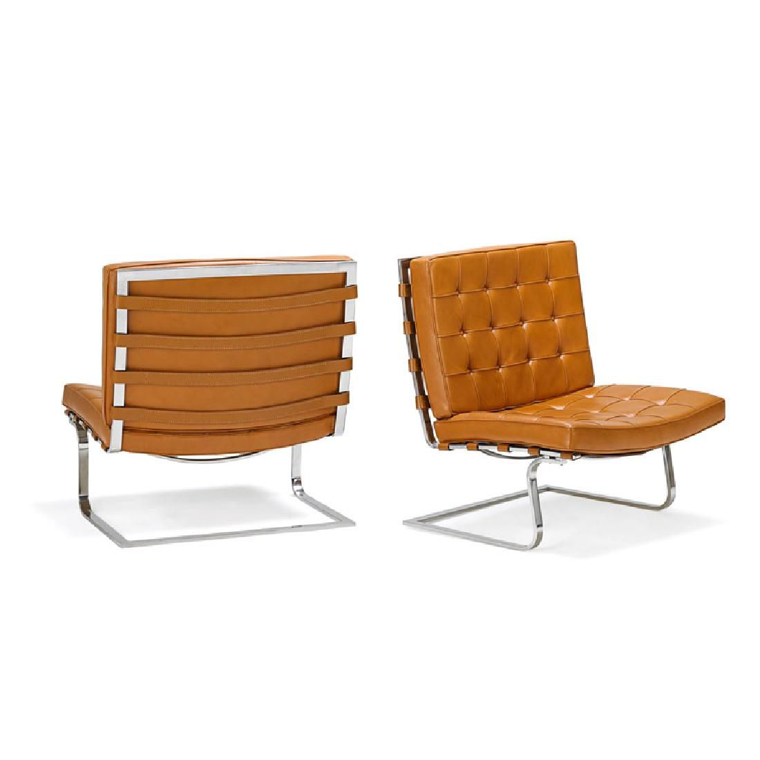 Pair of Ludwig Mies Van Der Rohe Tugendhat lounge chairs with cantilevered seats for Knoll Associates, c. 1970s.