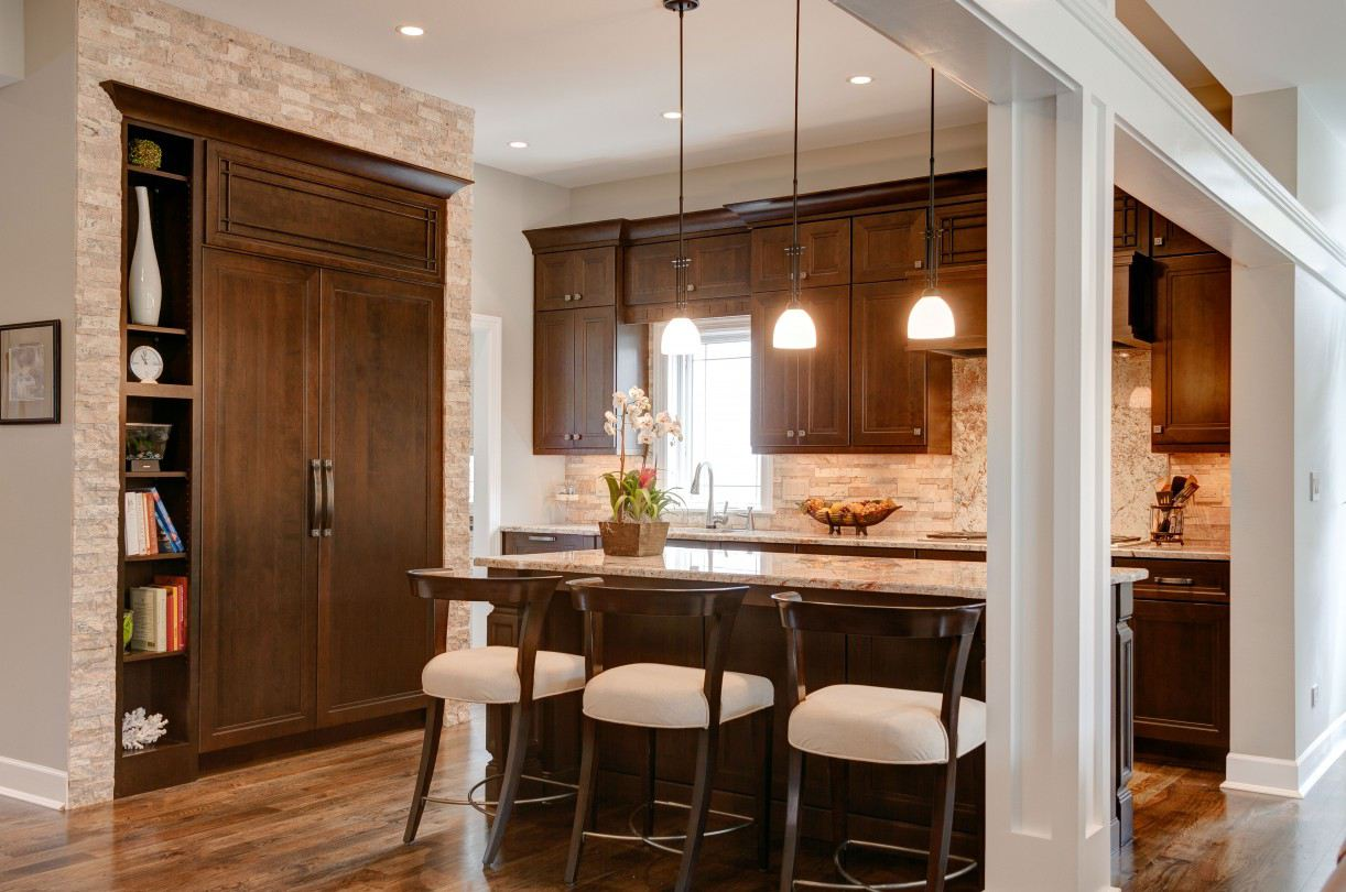 formal kitchen with stacked stone