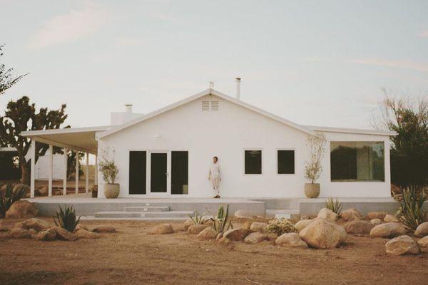 White adobe house