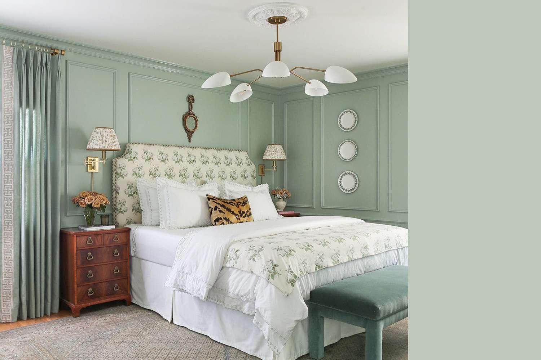Bedroom interior using a color similar to Benjamin Moore's Antique Jade