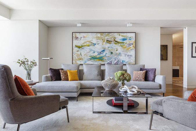 modern gray living room with bold artwork