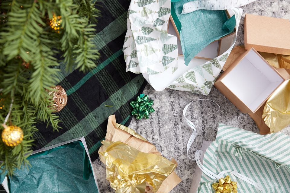 Unwrapped gifts under Christmas tree