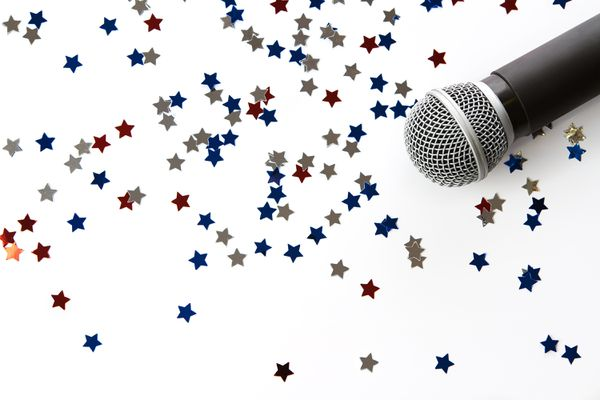 microphone and glitter