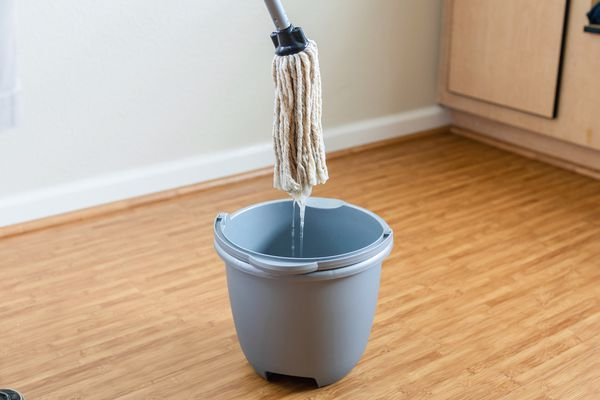 A mop being dipped into a bucket