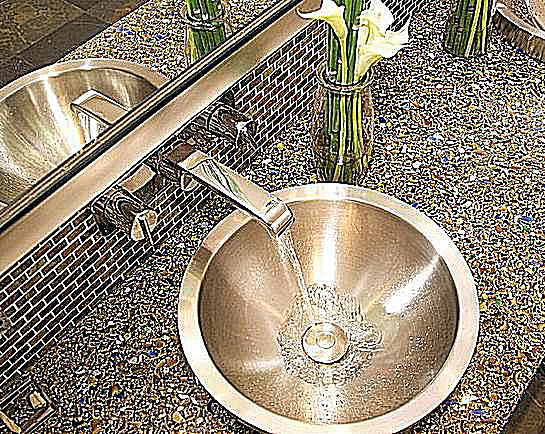 Recycled Gl Vetrazzo Vanity Top From Countertop Production In Berkeley Ca