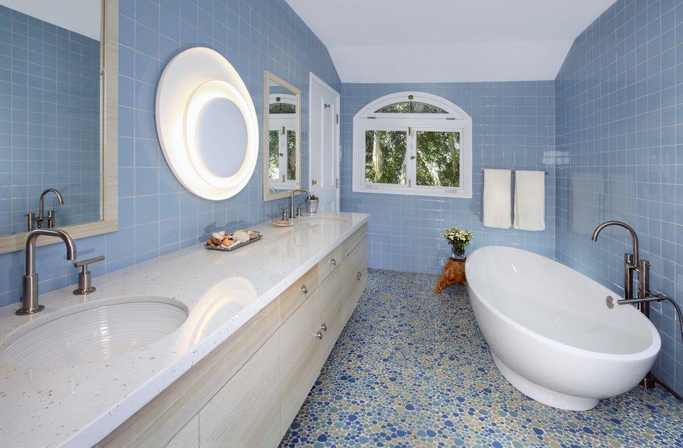 Blue and beige scandi inspired bathroom