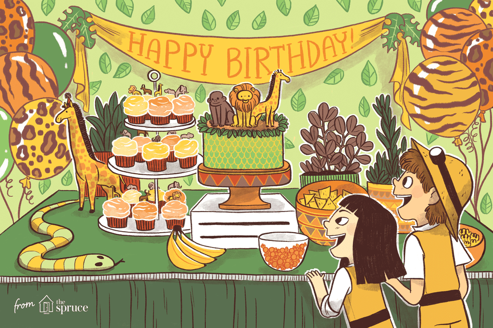 Illustration of children at a jungle-themed birthday party