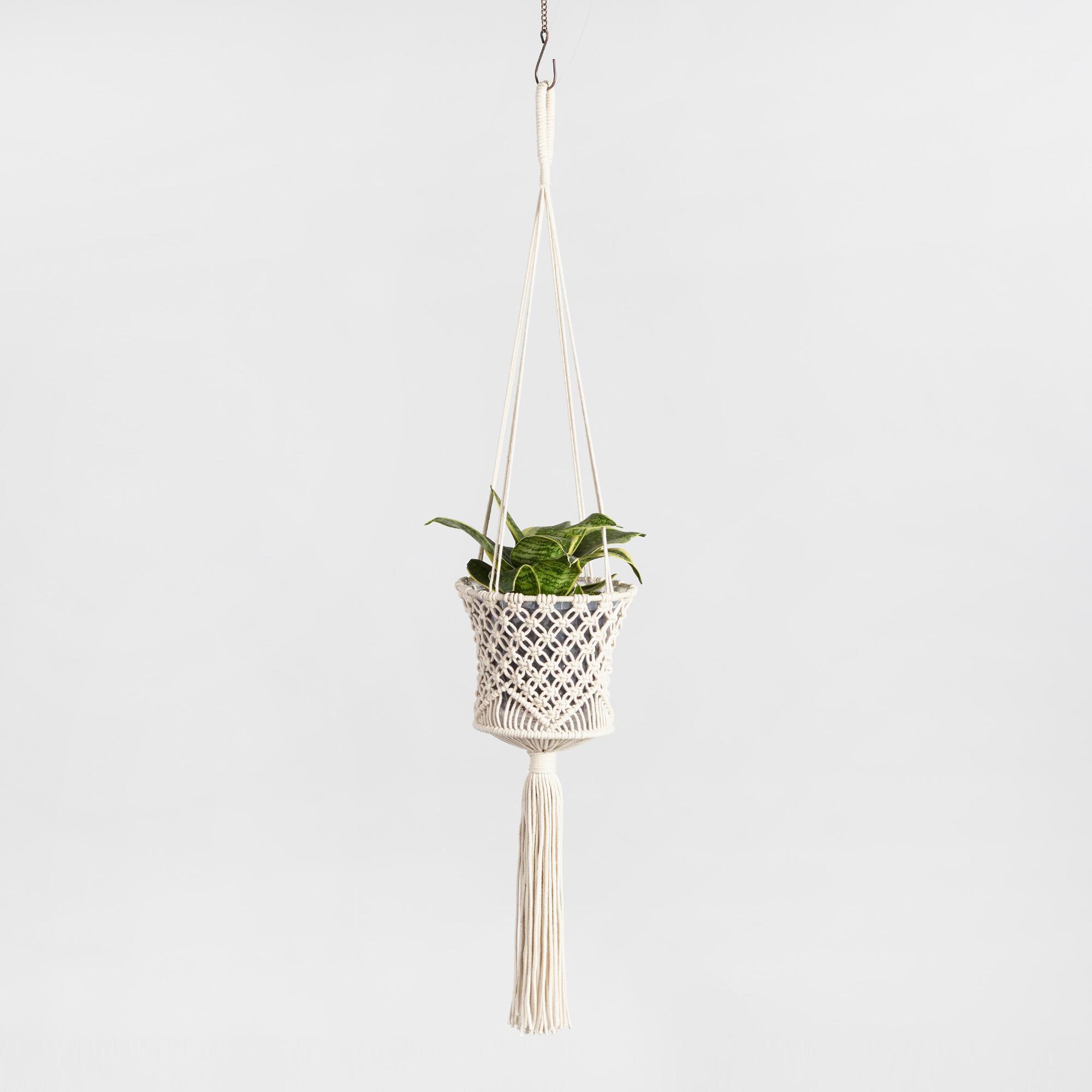 World Market Cotton Macrame Basket Plant Hanger