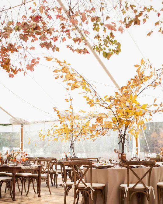 Centro de mesa de boda de otoño rústico de otoño