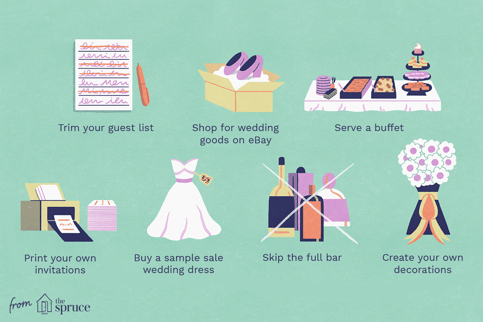 ways to save money on wedding illustration