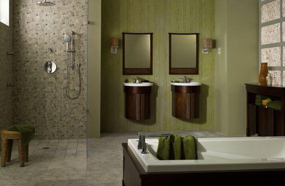 Baño con azulejos - Ducha abierta