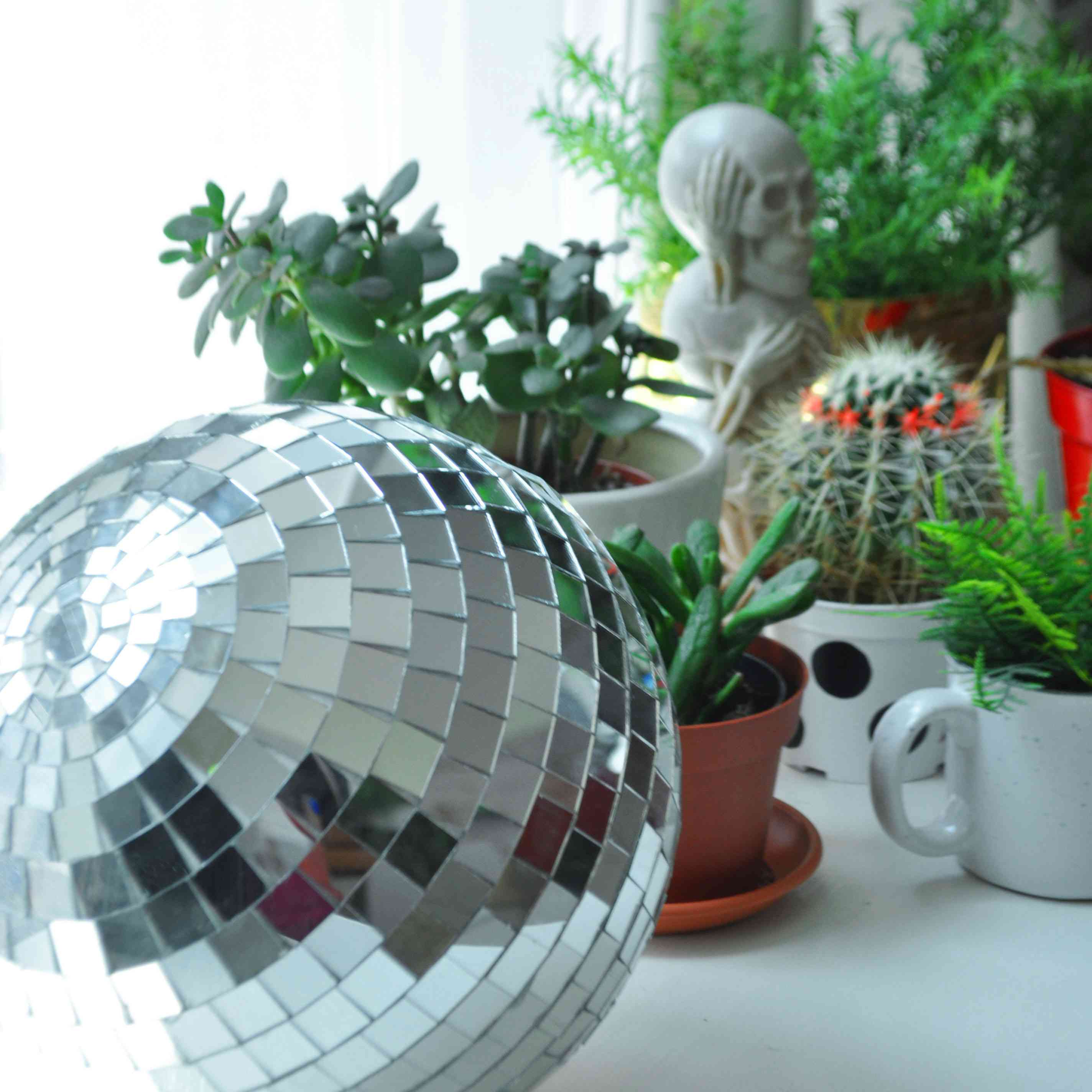 disco ball with potted plants