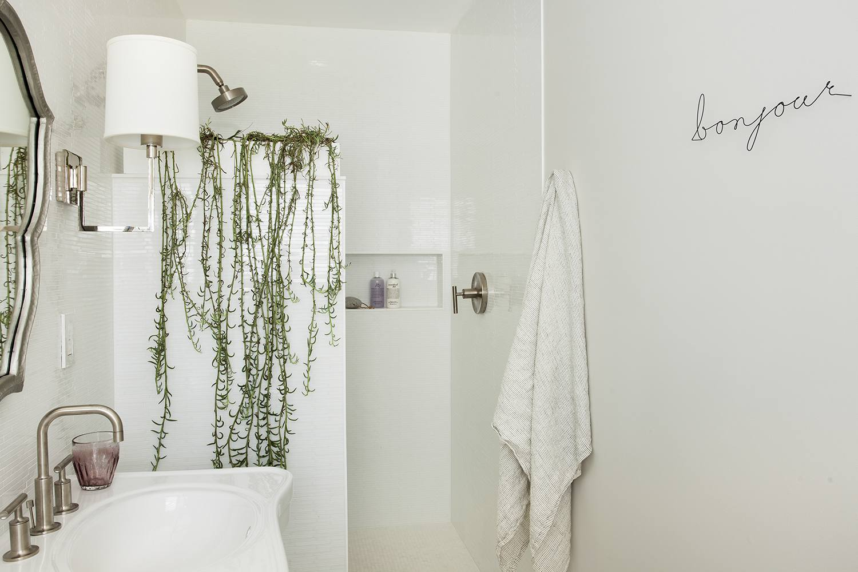 vine-like plants in a shower