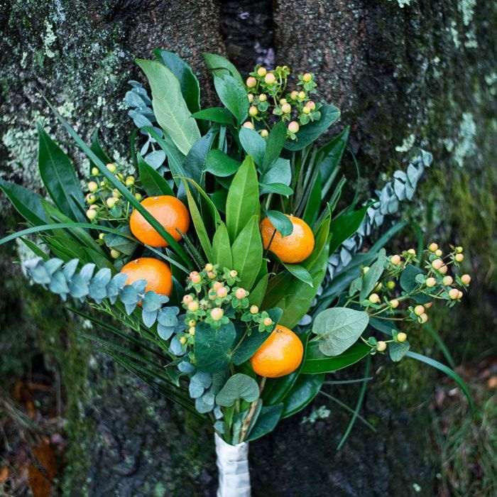 Mandarin Orange Winter Wedding Bouquet
