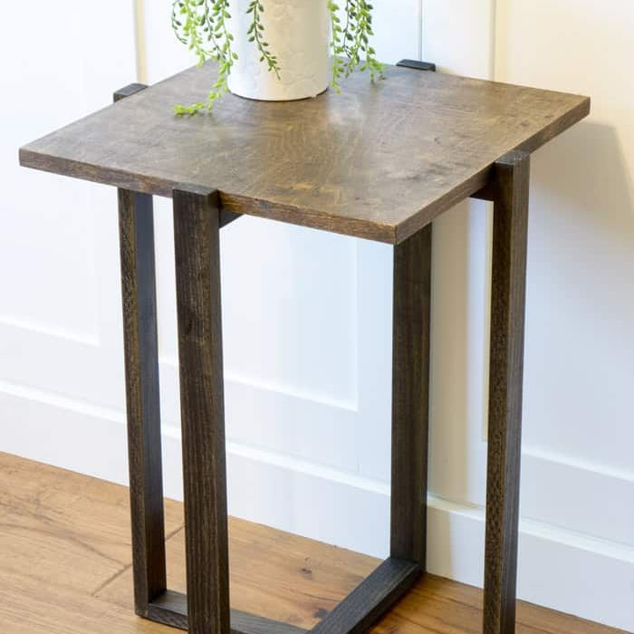 A tall end table with a plant on it
