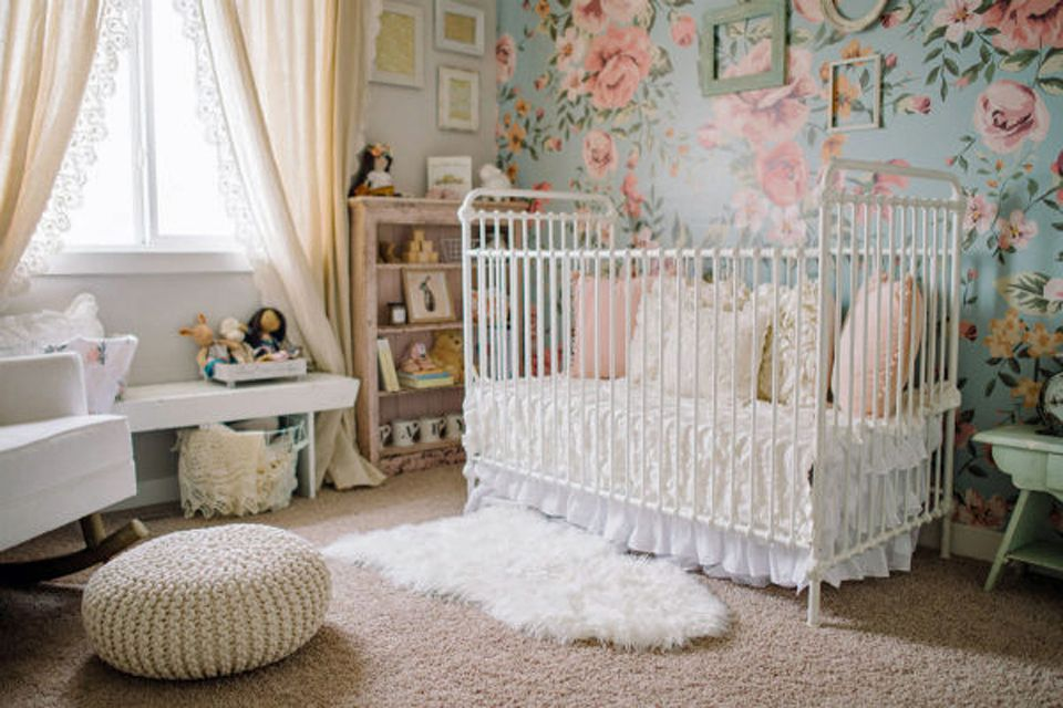Vintage nursery with beautiful faux vintage crib