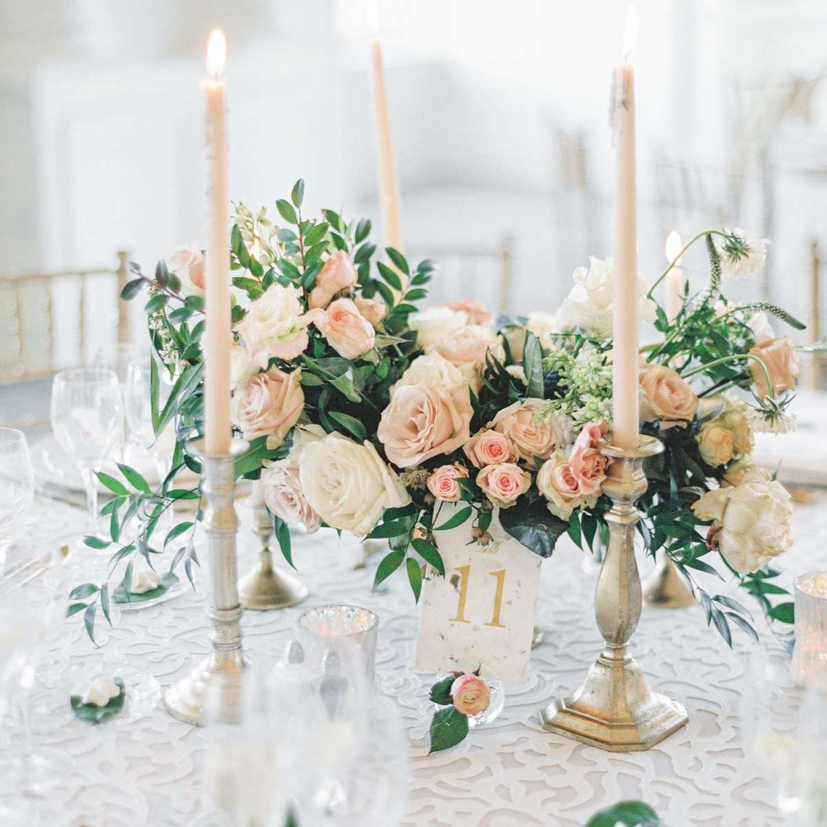 Classic Pink Rose Winter Wedding Centerpiece