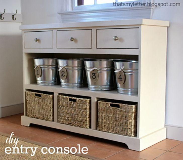 DIY entry console for mudroom storage