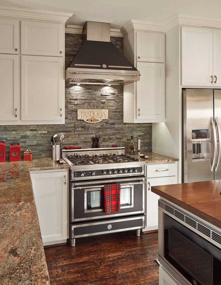 stacked stone in traditional kitchen