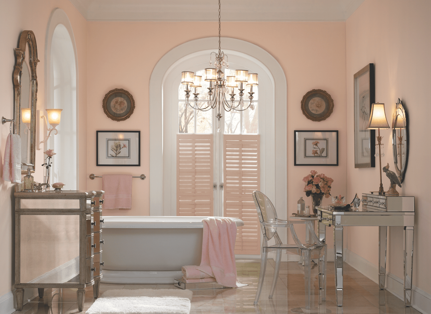 Behrs shell coral pink bathroom idea