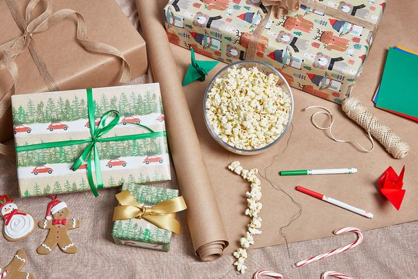 Christmas presents and stringed popcorn garland