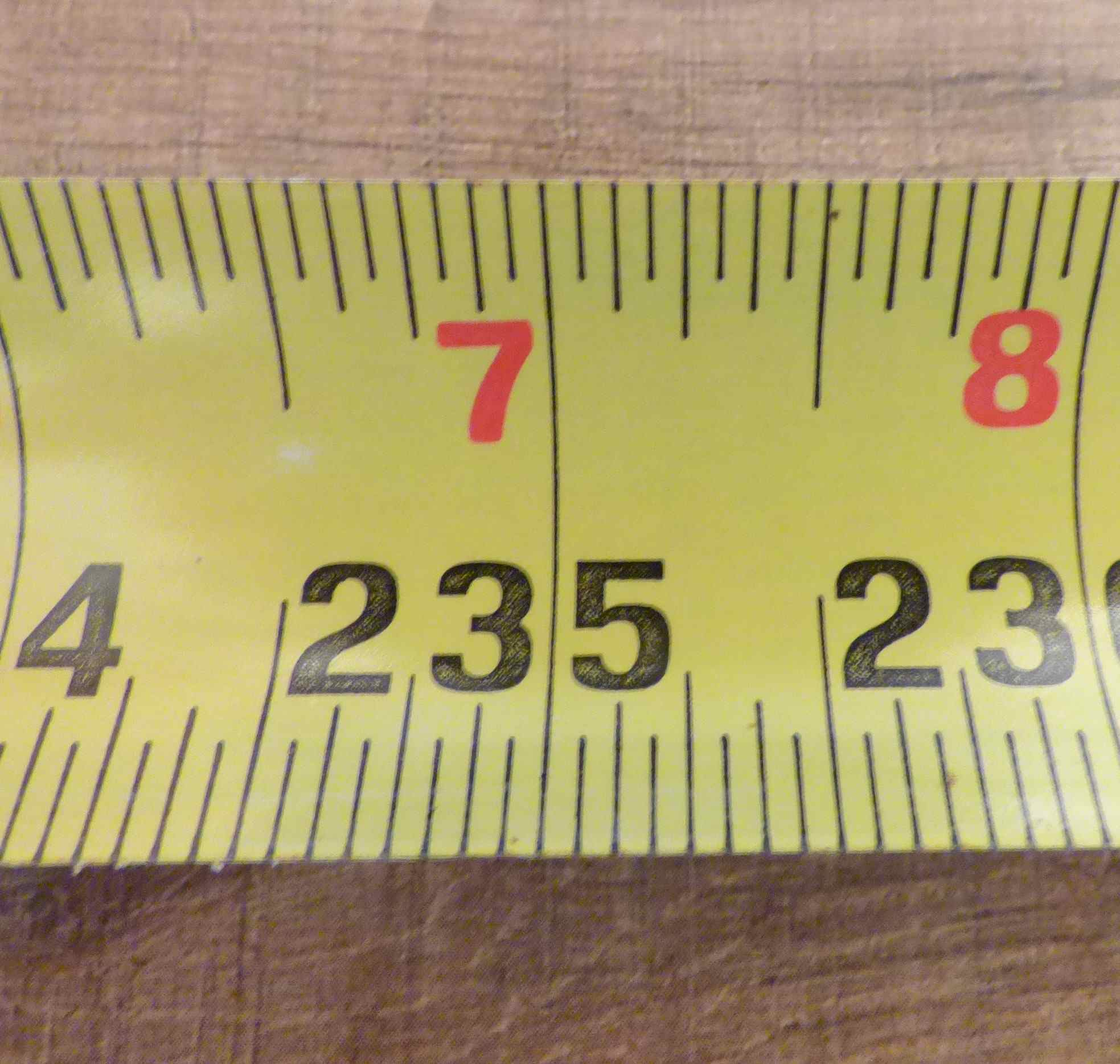 Tape Measure Half and Quarter Inch Marks