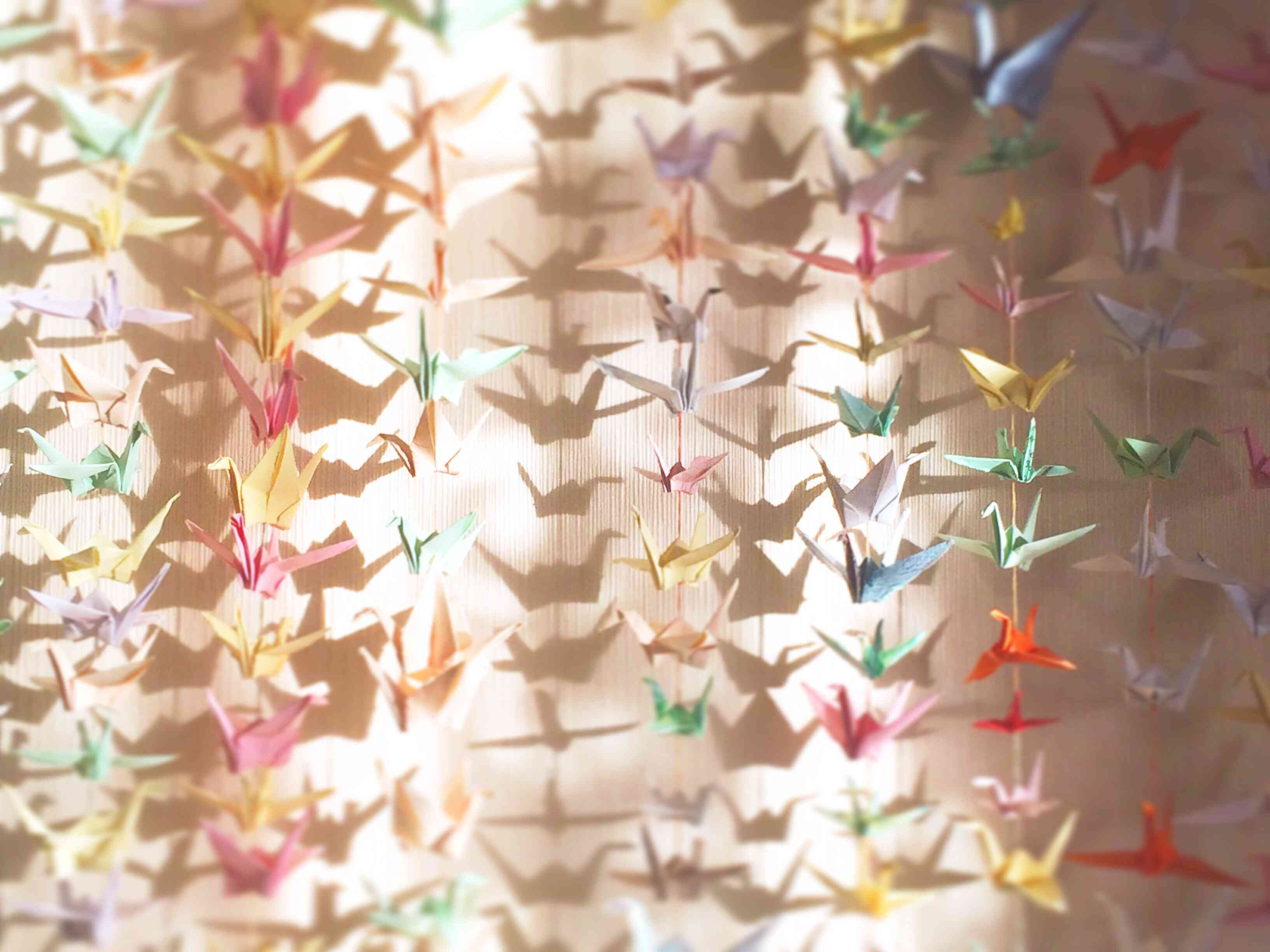 strings of origami cranes