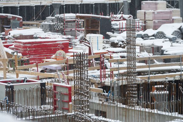 Snow-covered construction site