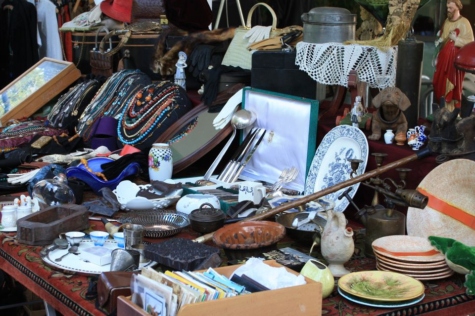 antique and vintage goods at flea market
