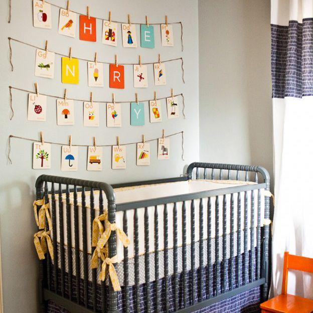 Vintage flashcards displayed as nursery wall art