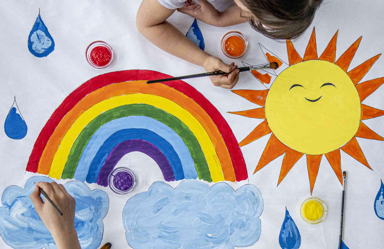 Little Girl Painting stock photo