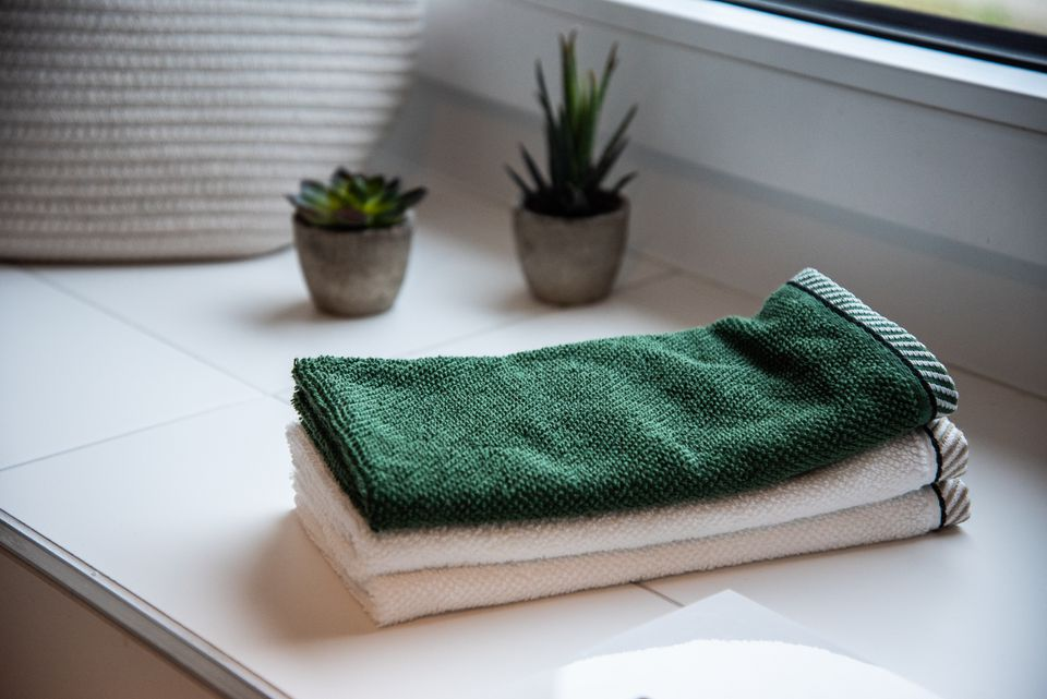 Towels on a countertop