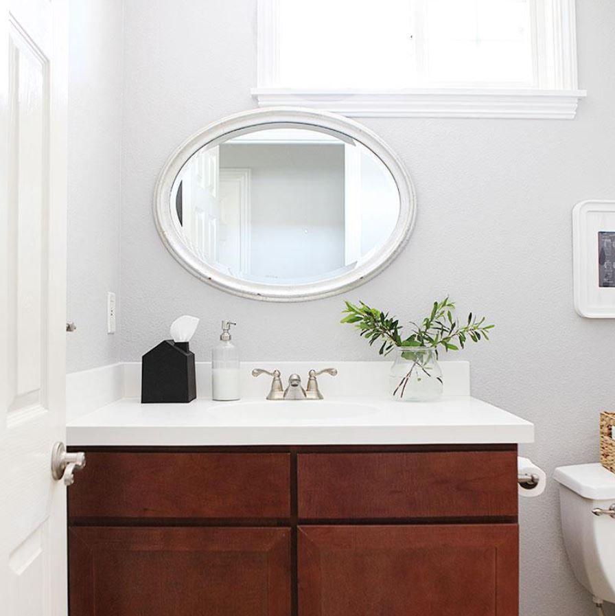 Updated bathroom vanity in remodeled bathroom.