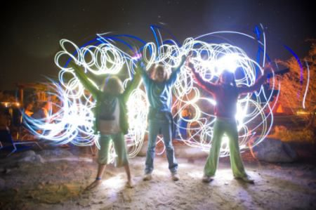 A picture of kids playing with flashlights