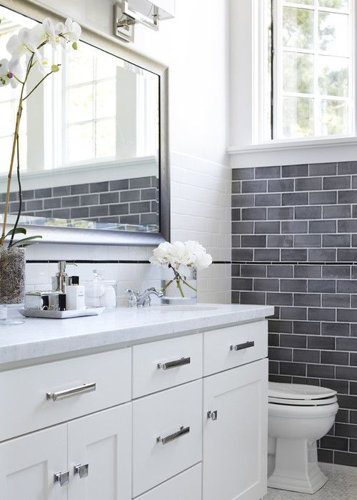 16 beautiful bathrooms with subway tile - Gray And White Bathroom