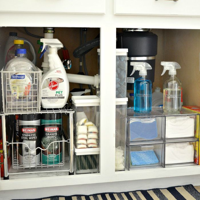 Organized under sink area with cleaning supplies.
