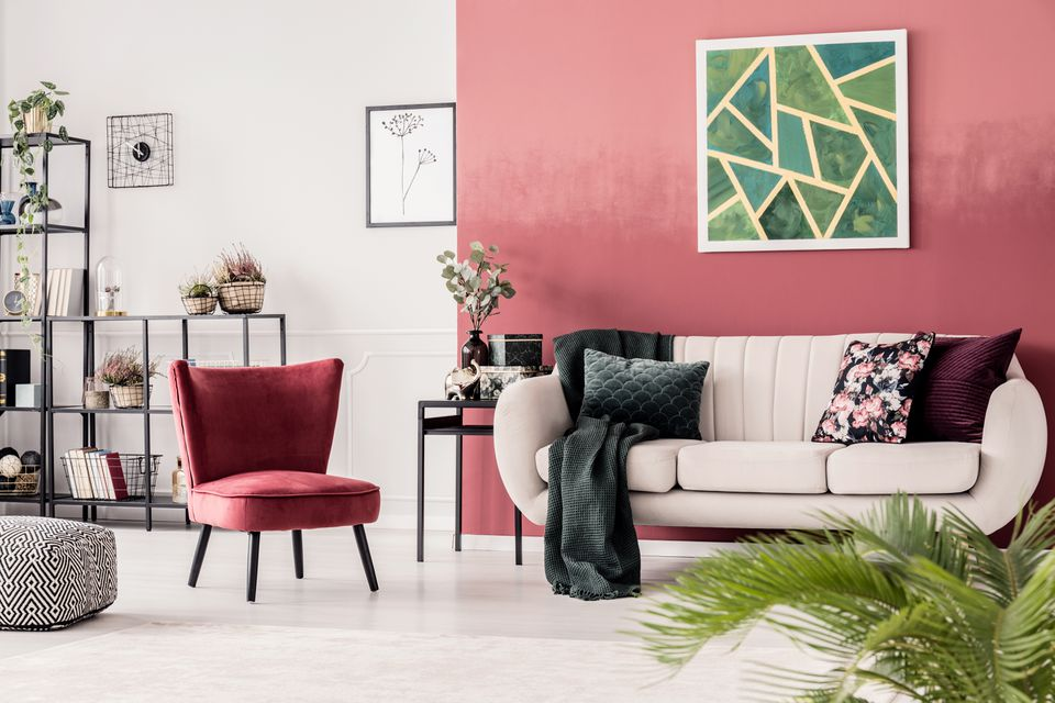 Red cozy living room interior