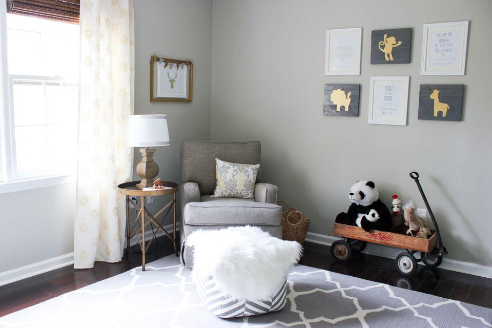Gray & Gold Gender Neutral Nursery Room