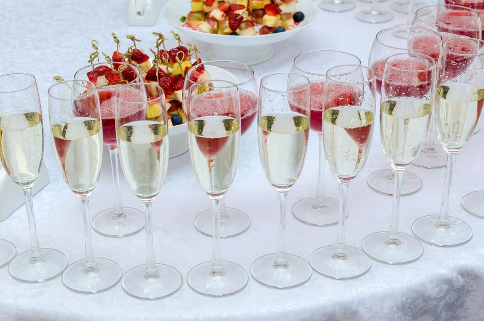 Wedding bar with wine and champagne