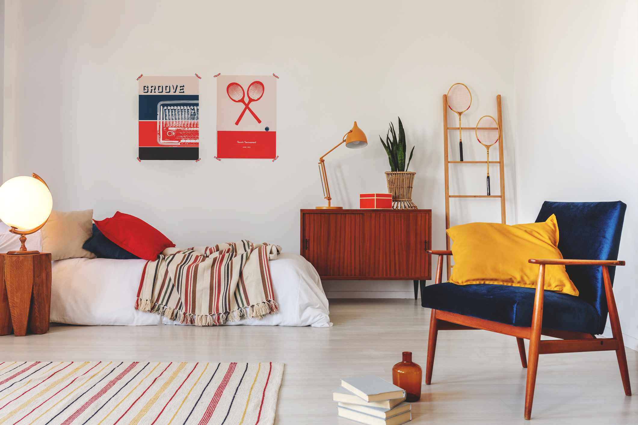 primary color bedroom with modern furniture